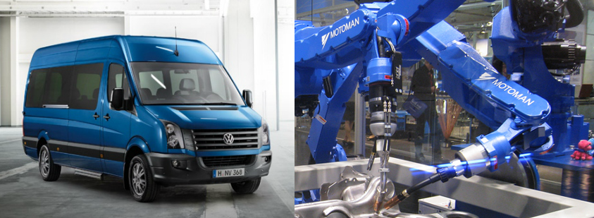 EA collaborates with the van Volkswagen Crafter on a project with Yaskawa Motoman robots